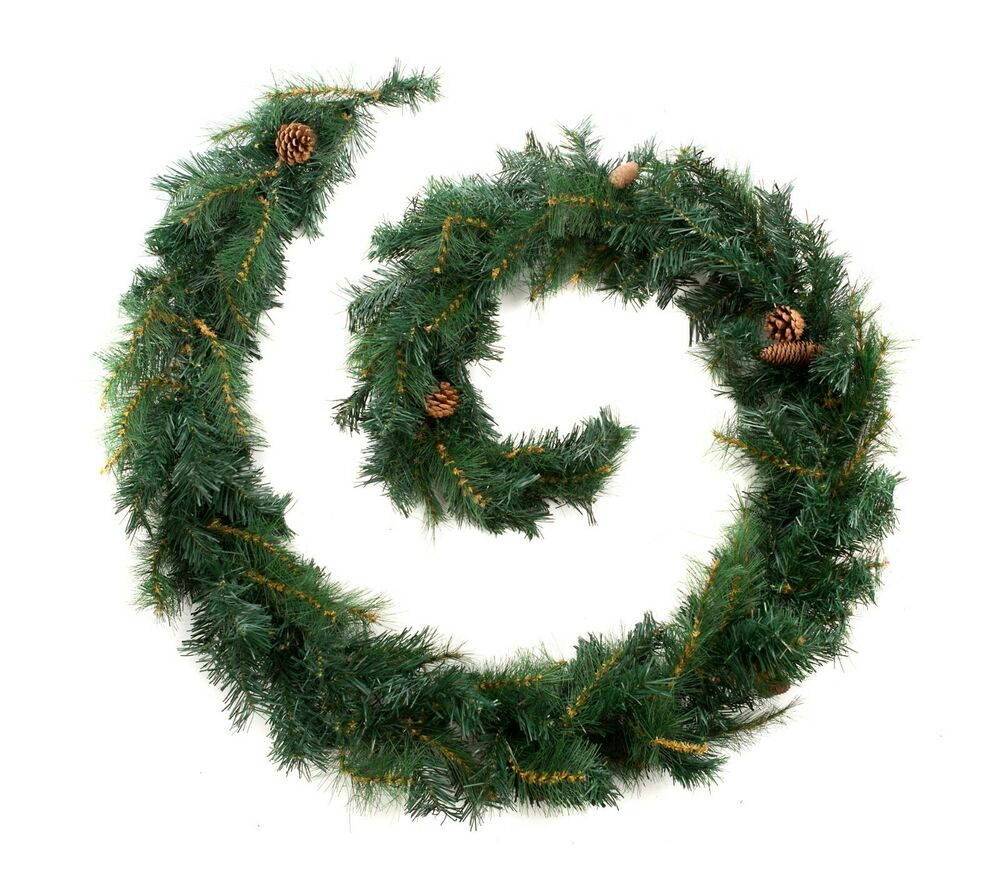 Best Artificial 9ft 2 7m Luxury Christmas Garland Pine Cones Indoor Xmas 215tips Ebay