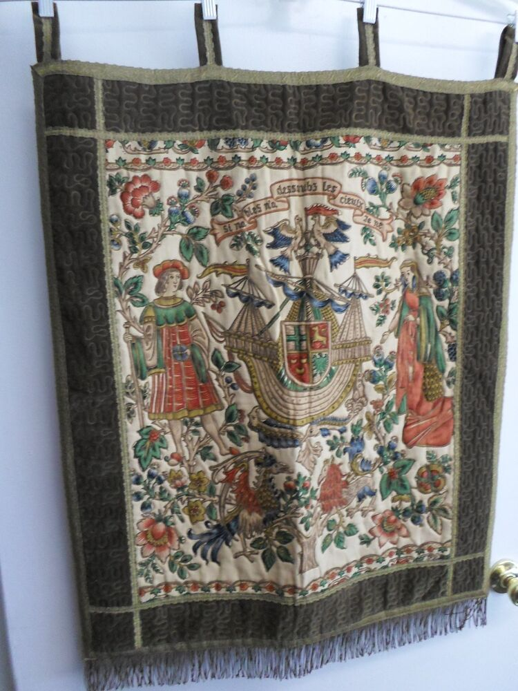 Large Vintage Wall Hanging Tapestry 15 Century French Quot Barques Des Amours 28 Quot X33 Ebay