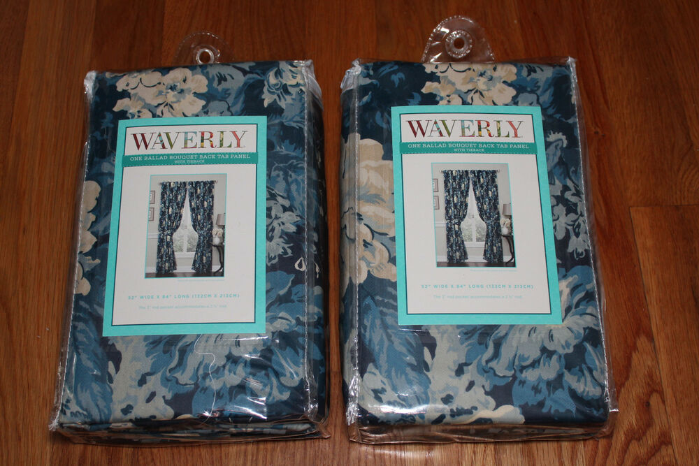 "... Ballad Bouquet Indigo Blue Panels Curtains Lined Drapes 84"" NEW 