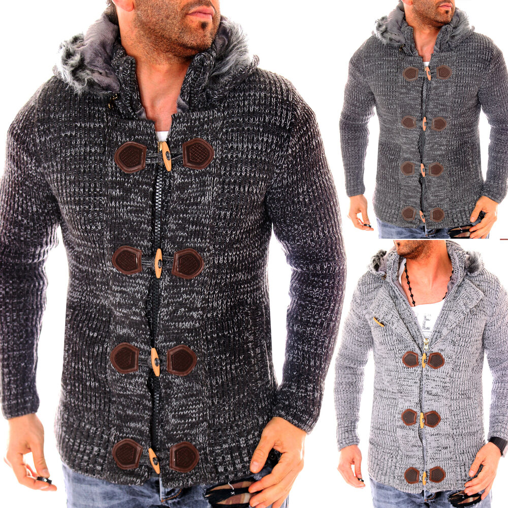herren strickjacke warme gef ttert grobstrick winterjacke pullover pulli wow neu ebay. Black Bedroom Furniture Sets. Home Design Ideas