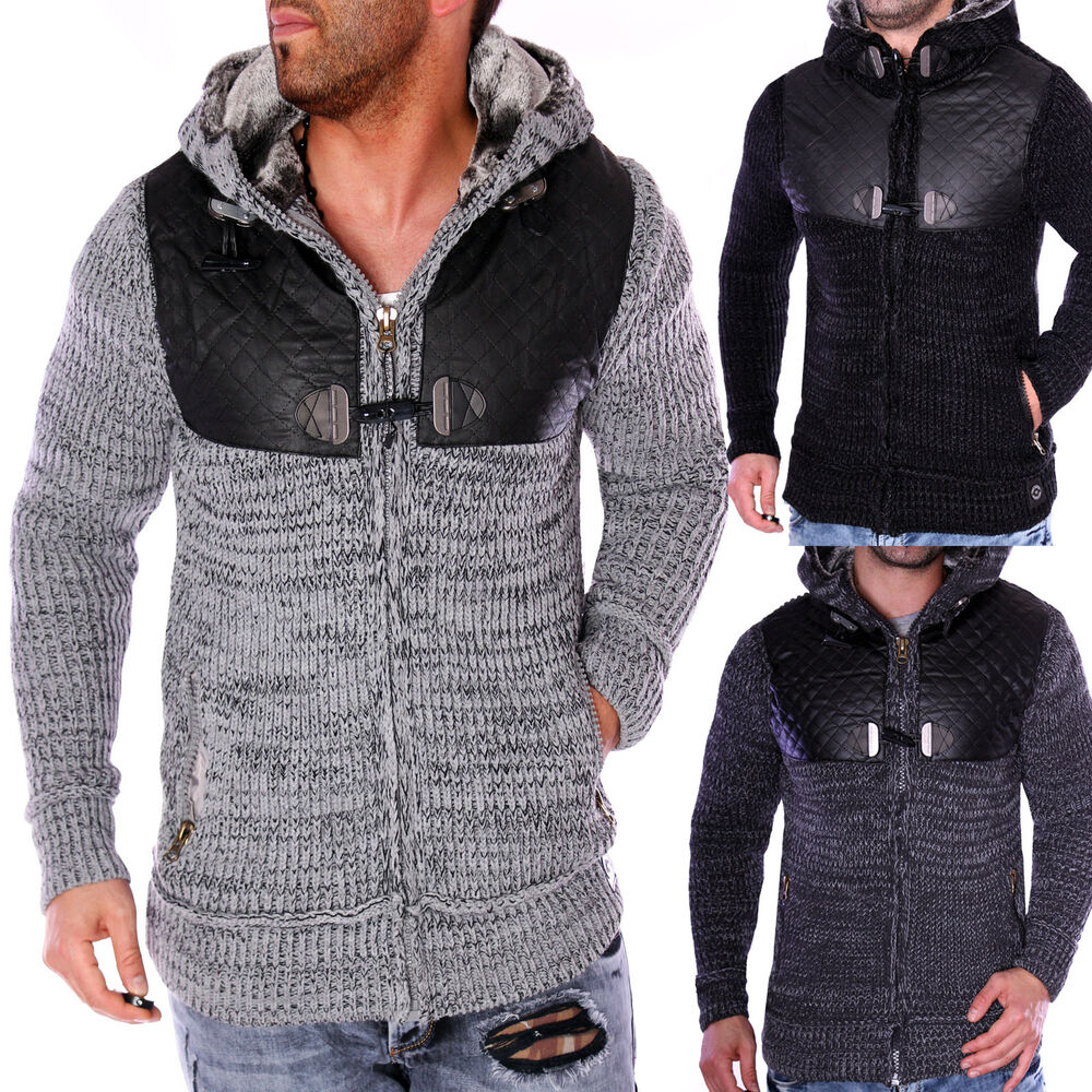 herren strickjacke warme grobstrick winterjacke pullover pulli mit wolle neu ebay. Black Bedroom Furniture Sets. Home Design Ideas