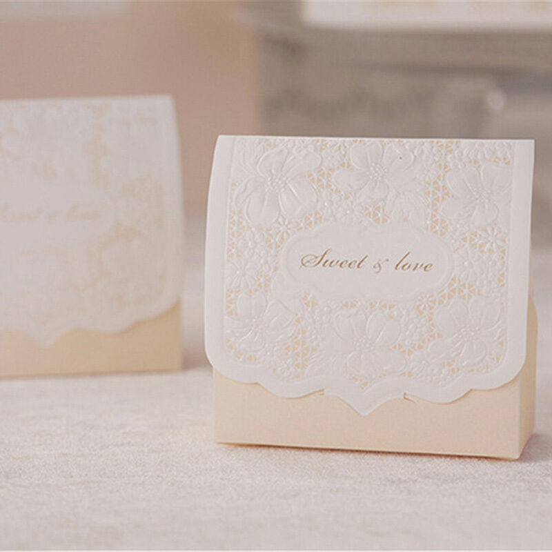 50pcs lase cut on luxury sweets cake candy gift favor boxes bags wedding party ebay. Black Bedroom Furniture Sets. Home Design Ideas