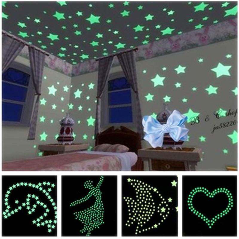 Lots Fashion Glow Butterfly Stars Sky Bedroom Home