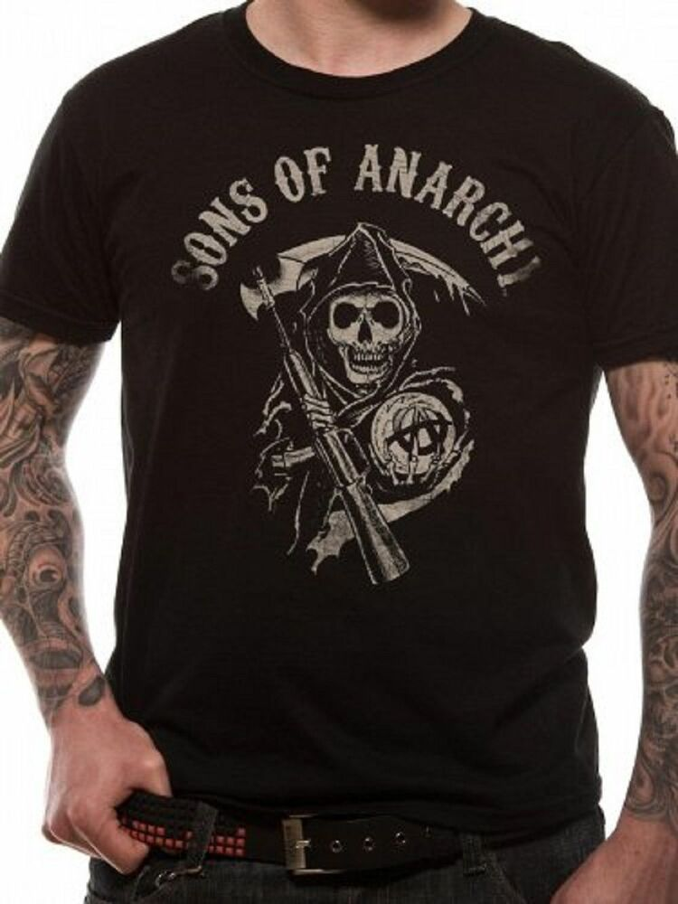 sons of anarchy t shirt reaper logo official black mens. Black Bedroom Furniture Sets. Home Design Ideas