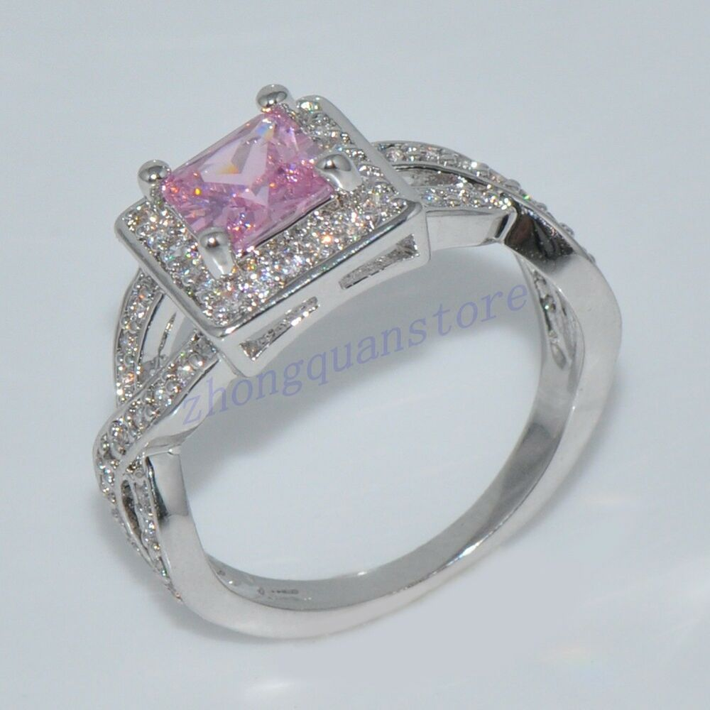 size 6 10 princess cut pink sapphire wedding ring women 39 s. Black Bedroom Furniture Sets. Home Design Ideas
