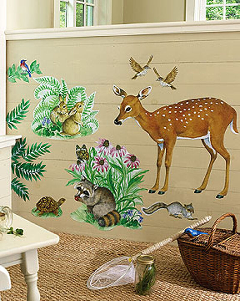 Woodland animals wall murals deer rabbits birds racoon for Animal wall mural
