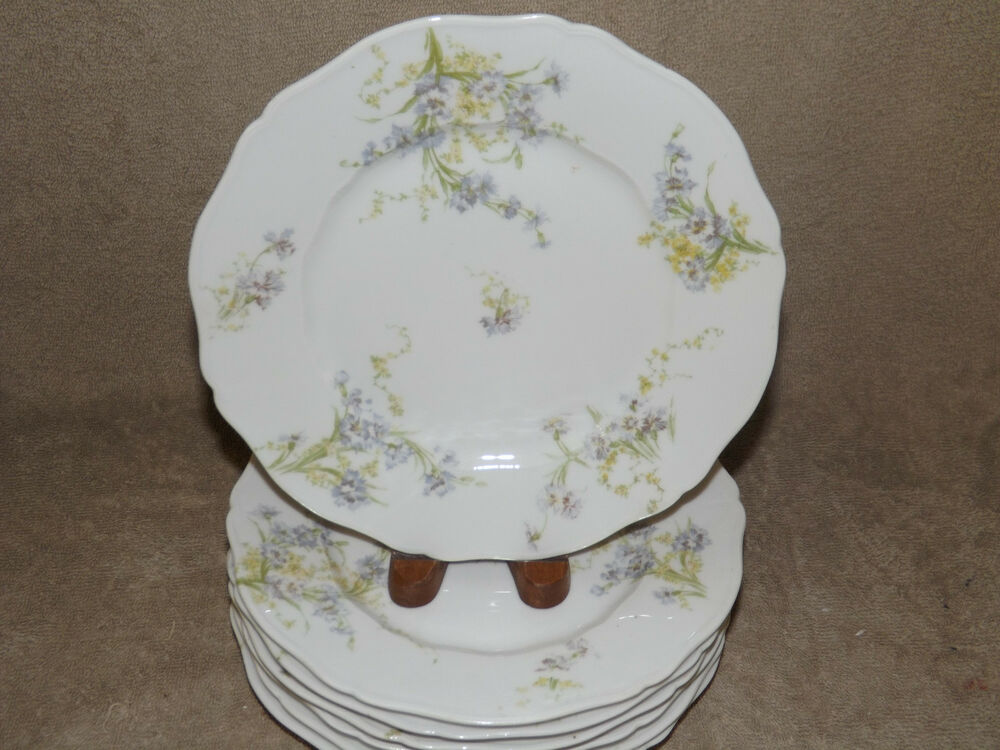 theodore haviland limoges france 7 schleiger 603 luncheon plates blue flowers ebay. Black Bedroom Furniture Sets. Home Design Ideas