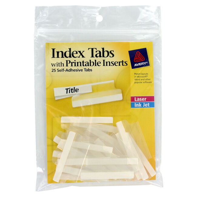 Avery Insertable Index Tabs W/Printable Inserts 1 1/2 ...