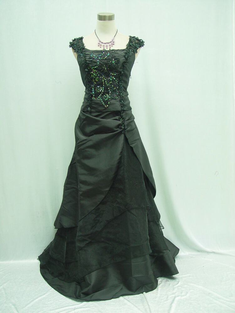 Cherlone plus size black long bridesmaid ballgown wedding for Wedding dress in ebay