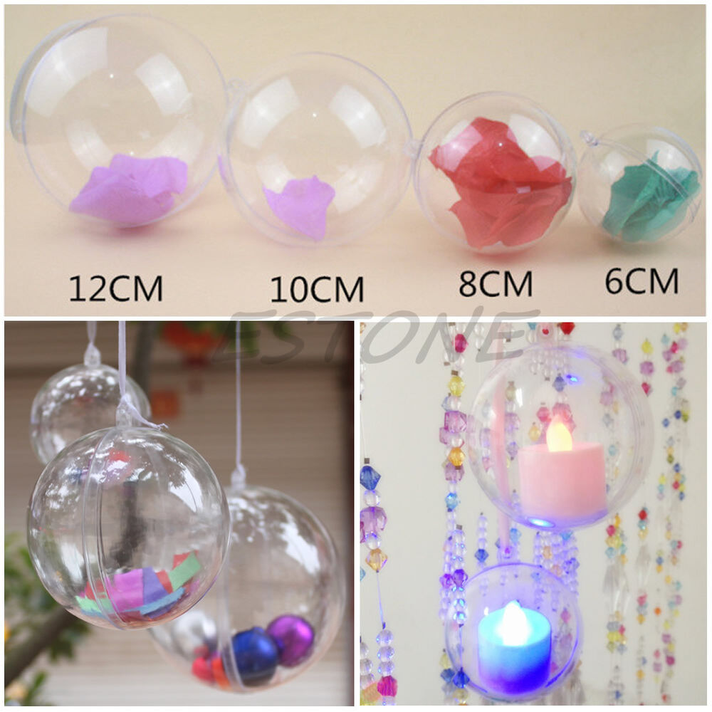 Christmas Ornament Craft Clear Balls : Plastic round ball christmas clear bauble ornament gift