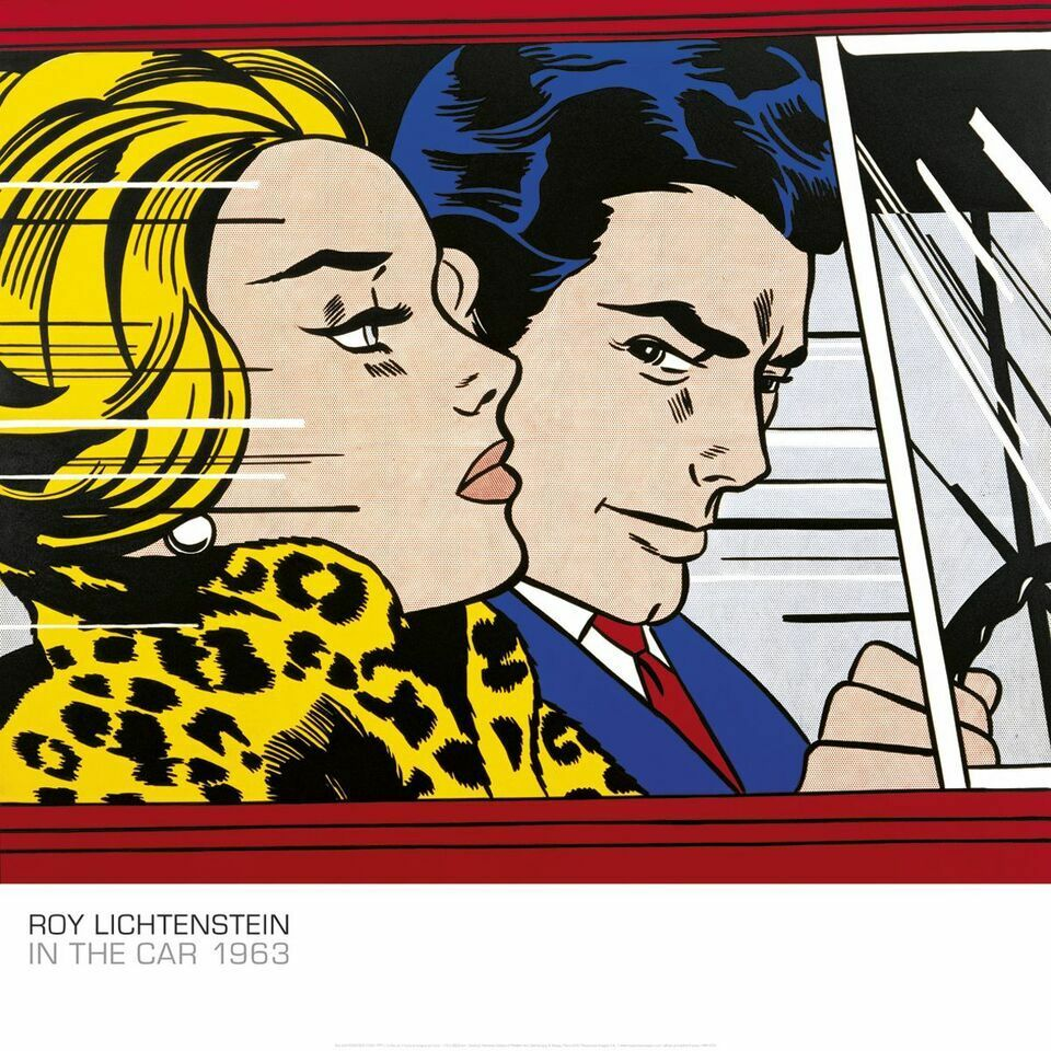 In the car 1963 by roy lichtenstein art print pop poster for Poster roy lichtenstein