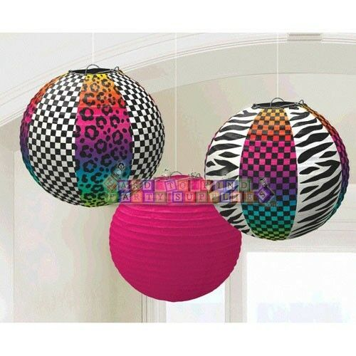 Neon animal print paper lanterns 3 80s birthday party for Animal print decoration party