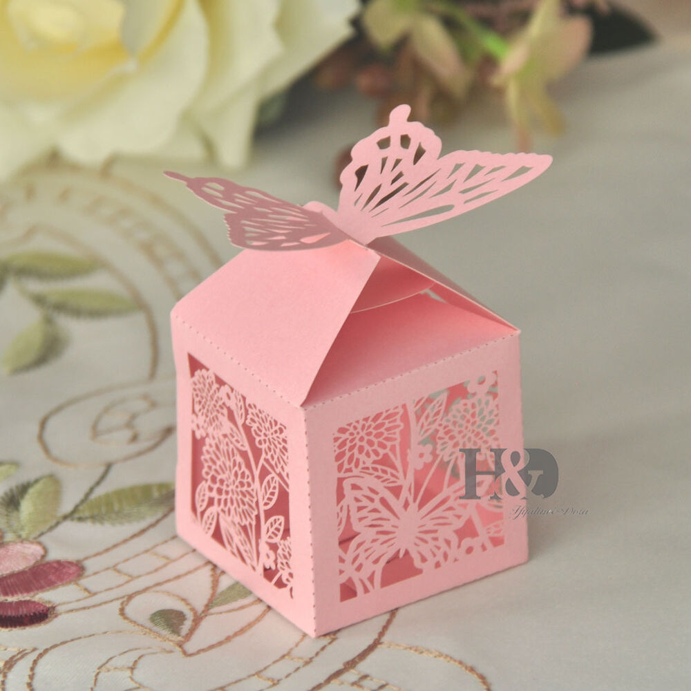 Pink Laser Cut Butterfly Favor Candy Gift Boxes Wedding Party Baby ...