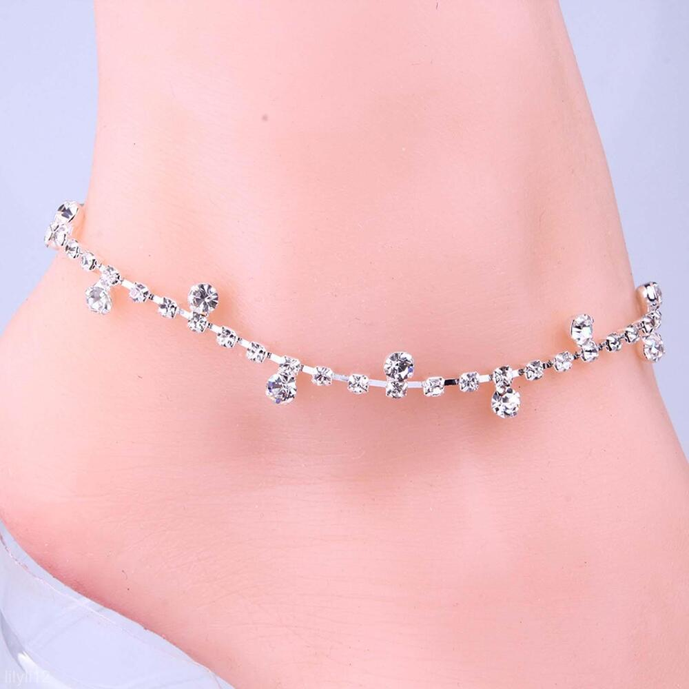 Adjustable Silver Diamante Crystal Anklet Foot Leg Chain ...