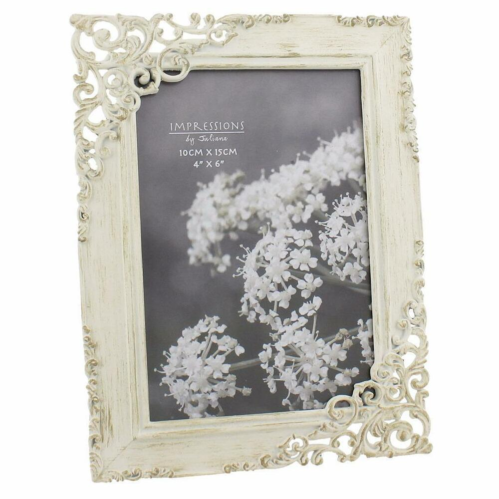 vintage style ornate cream metal photo frame new boxed 64846 ebay. Black Bedroom Furniture Sets. Home Design Ideas