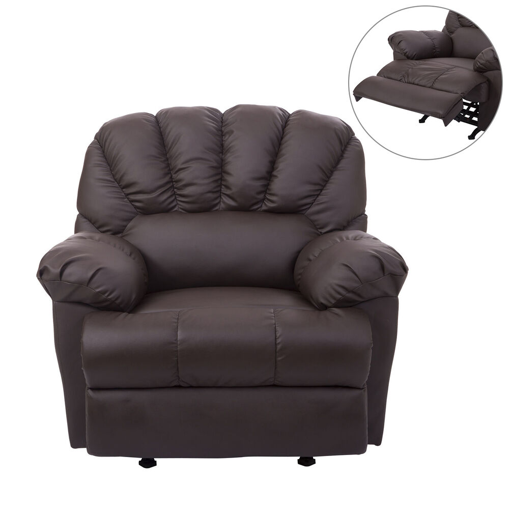 Homcom Armed Recliner Sofa Chair Reclining Couch Pu