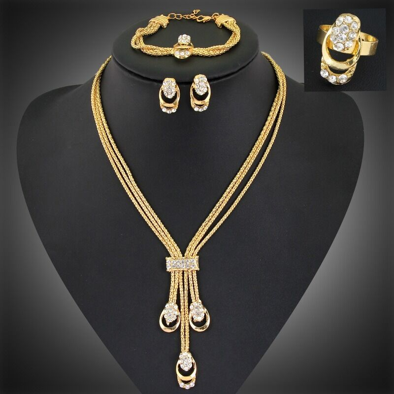 Crystal gold plated jewelry set pendant necklace chain for Is gold plated jewelry worth anything