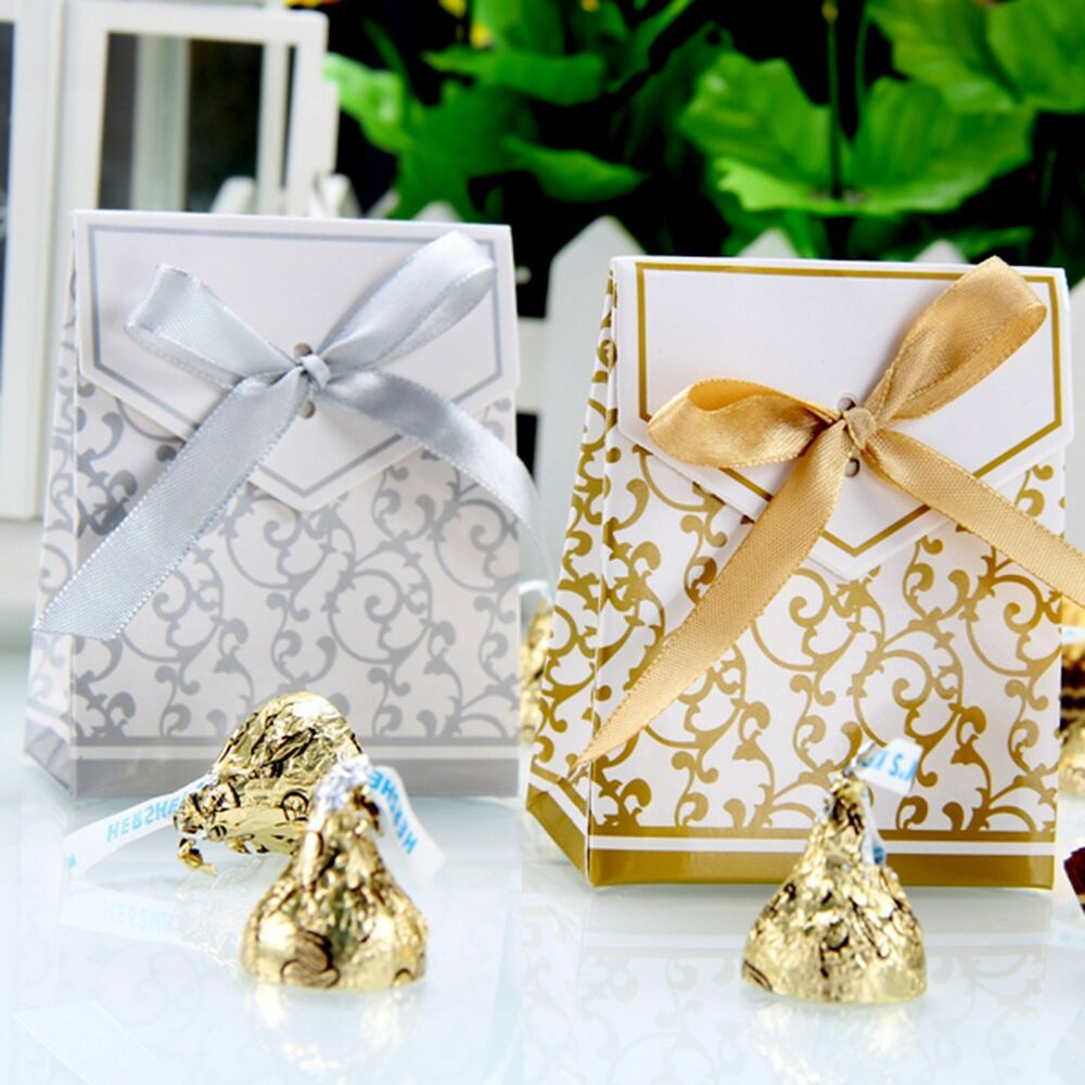 Wedding Favor Bags With Ribbon : ... /Gold Bridal Wedding Party Favor Gift Ribbons Candy Boxes Bags eBay