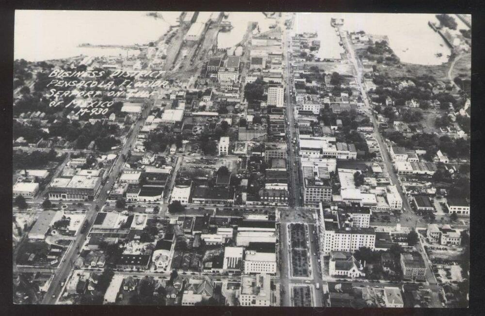 Rp Postcard Pensacola Fl Florida Business District Bird S Eye Aerial View 1940 S Ebay