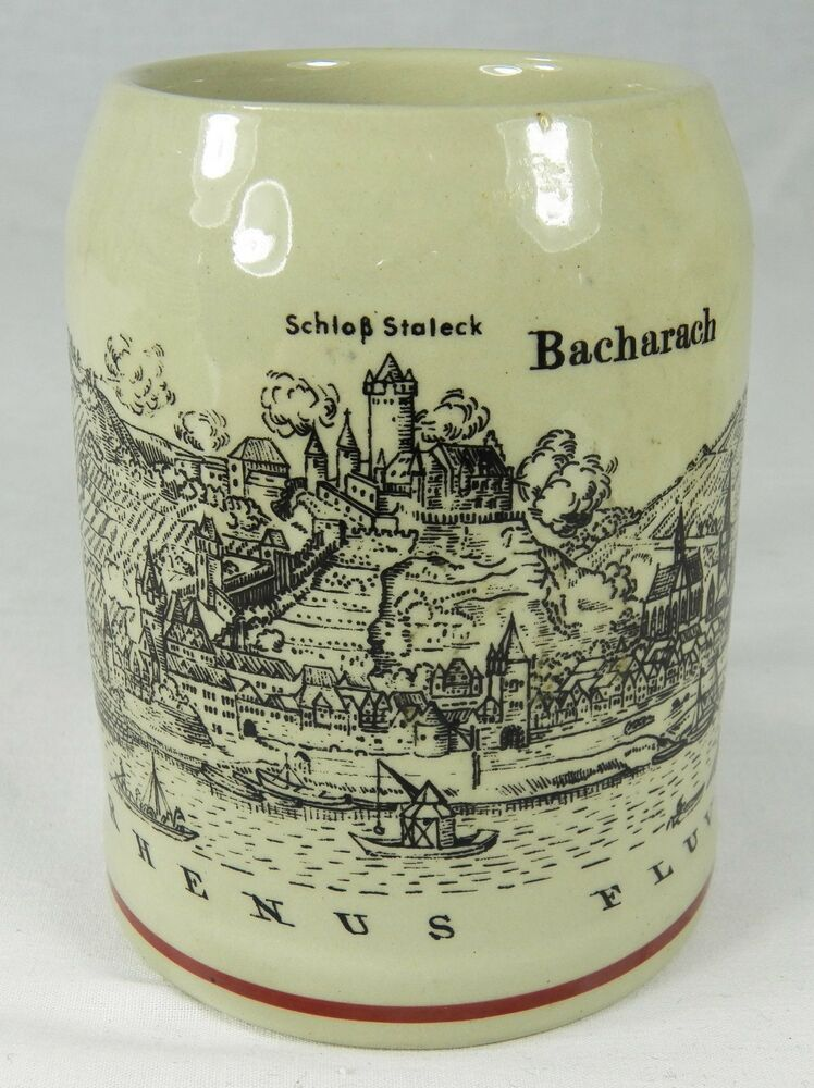 Ceramic Beer Stein Mug Bacharach Rhine Gorge Germany