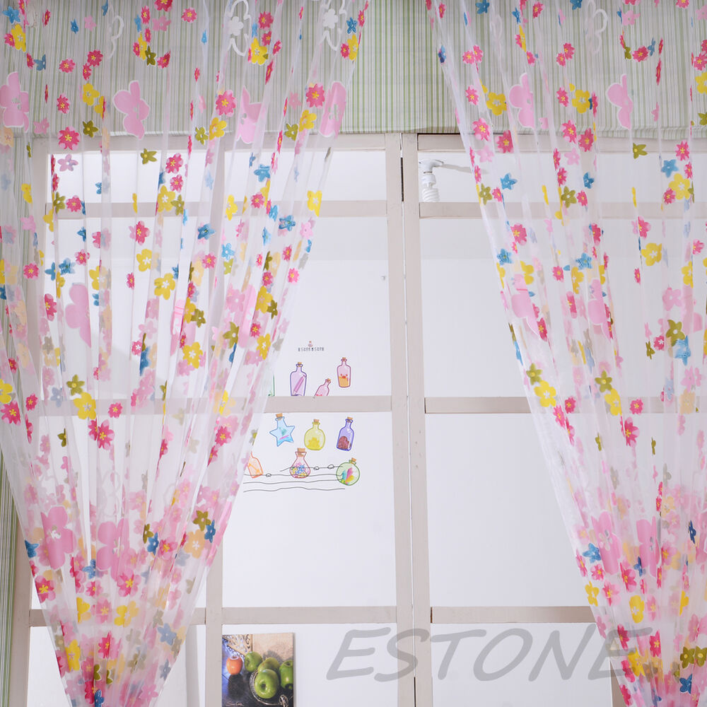 Sheer curtain room divider - Door Window Scarf Sheer Floral Curtain Drape Panel Voile Valances