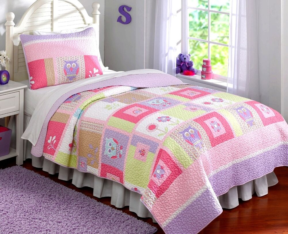HAPPY OWLS Twin QUILT SET : GIRLS PURPLE PINK FLOWERS WHIMSY COMFORTER