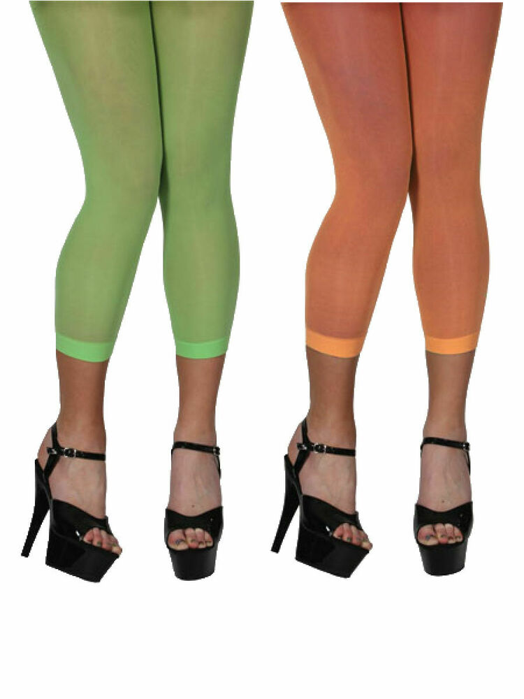 Footless Tights Ladies Neon 80s Fancy Dress Accessory ...
