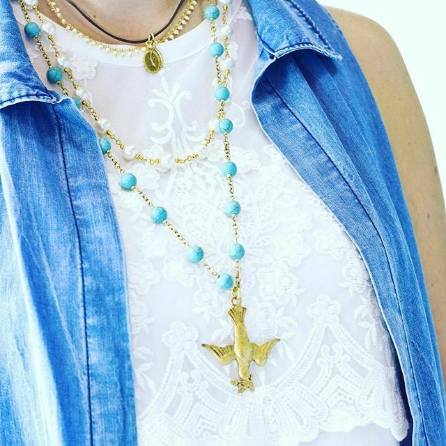 John wind necklace peace dove gold pearls turquoise london for Minimal art jewelry