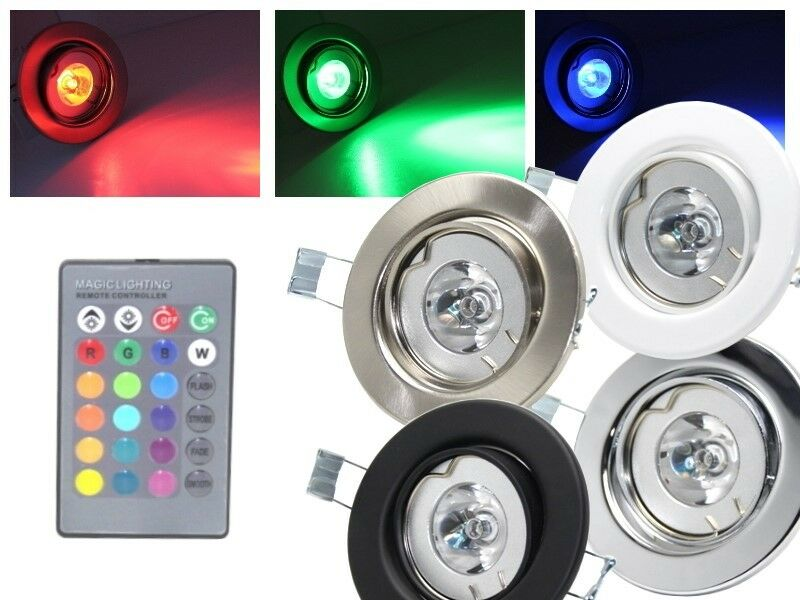 led rgb einbaustrahler 3w 230v fernbedienung schwenkbar strahler spot leuchte ebay. Black Bedroom Furniture Sets. Home Design Ideas