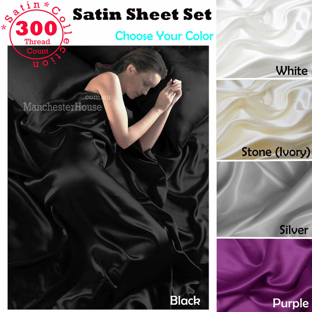 White Black Silver Purple Ivory 300tc 4 Pce Satin Soft
