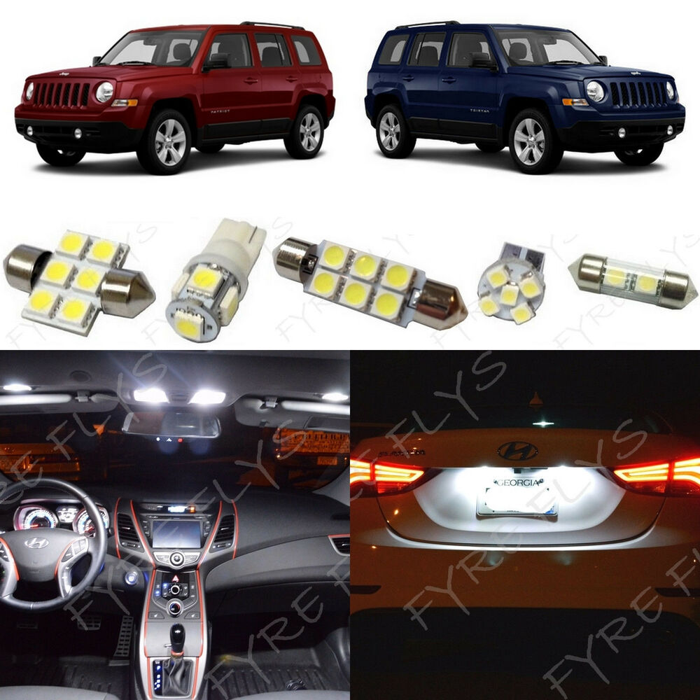 6x White LED Lights Interior Package Kit For 2007-2017