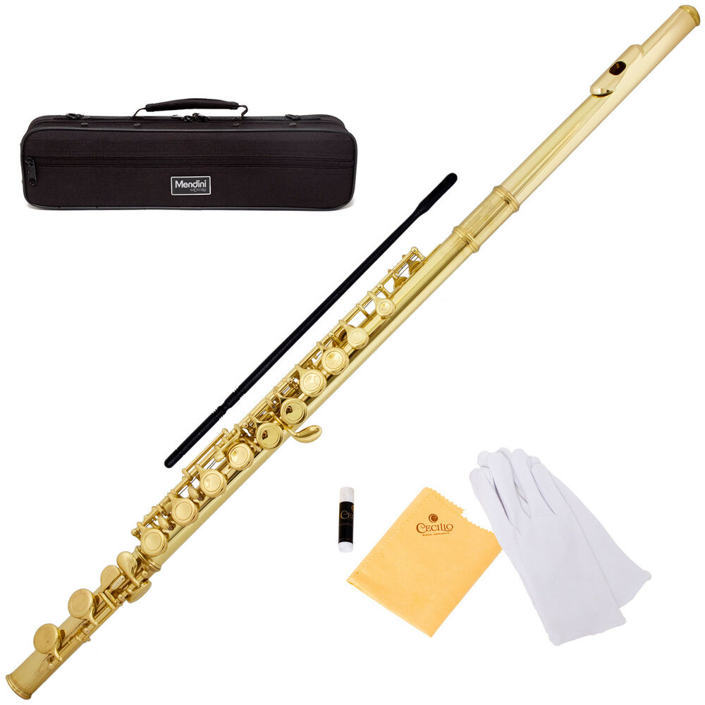 MENDINI GOLD LACQUERED C FLUTE 16 KEY w Split E CLOSED HOLE MFE L eBay