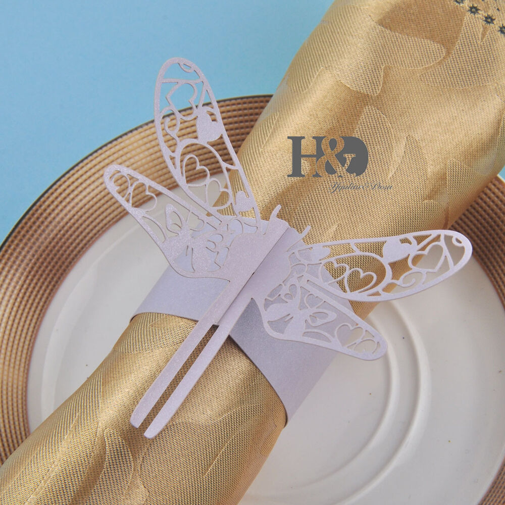 laser cut lilac paper dragonfly napkin rings place cards. Black Bedroom Furniture Sets. Home Design Ideas
