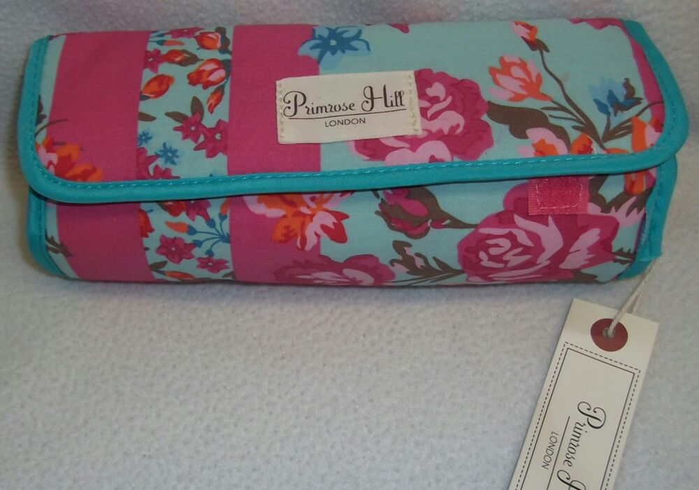 Primrose Hill Blue Pink Floral Jewelry Roll Up Organizer
