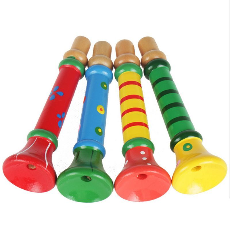 Toy Musical Horns : Wooden trumpet hooter bugle suona instrument kids baby