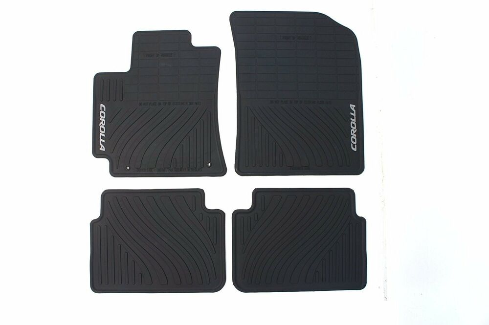 09 10 011 2012 2013 corolla floor mats rubber all weather 4pc factory toyota oem ebay. Black Bedroom Furniture Sets. Home Design Ideas