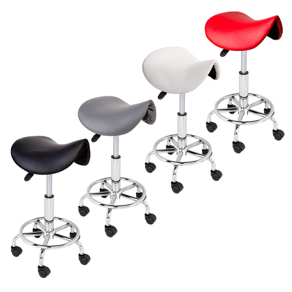 Adjustable Salon Stool Hydraulic Saddle Rolling Chair