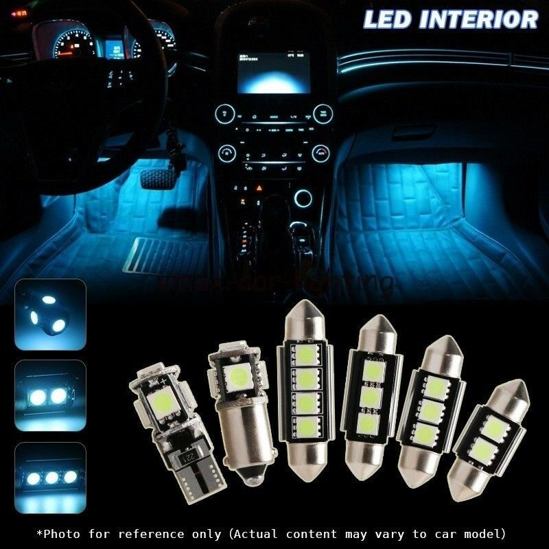 10x Blue Interior Led Lights Replacement Package Kit Fit: 12 X Canbus Ice Blue LED Interior Bulbs Kit Package For