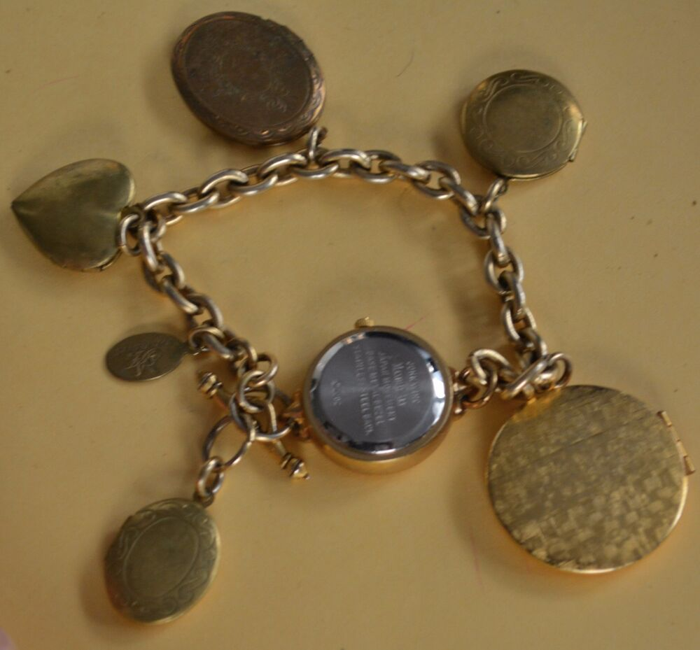 Charm Bracelet Watches: Vintage John Wind Maximal Art Bracelet Watch Locket Charm