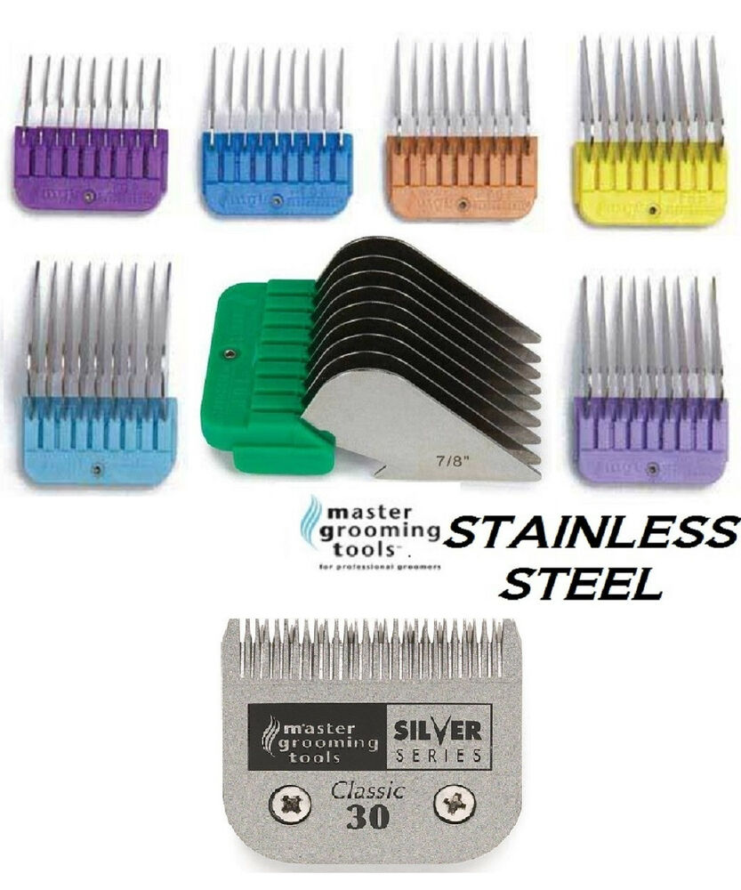 Clipper blade 7 stainless steel guide guard comb setfit for Andis dog clipper blade guide
