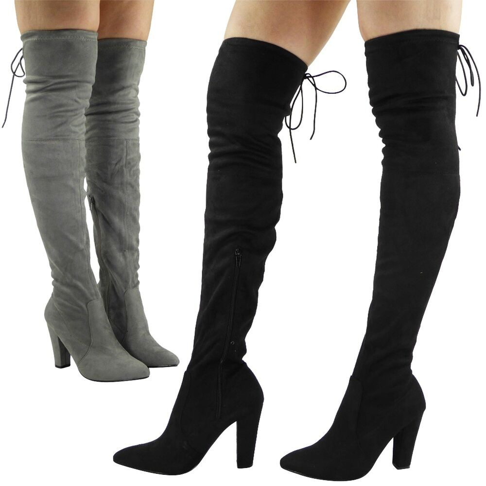womens thigh high the knee faux suede