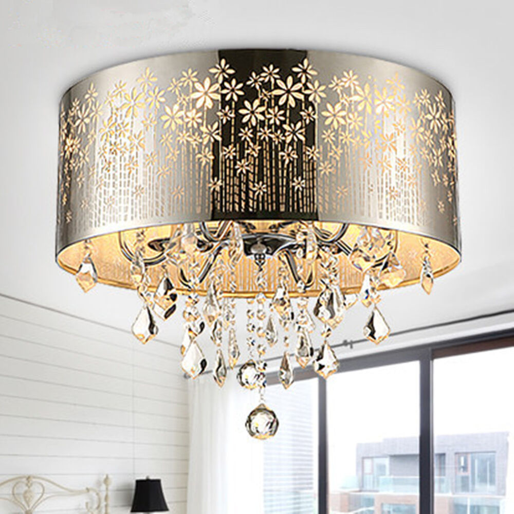 Flush Ceiling Chandeliers: 4 Light Crystal Chandelier Hol Flush Mount Pendant