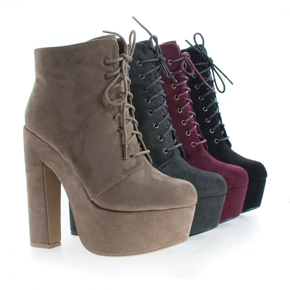 New Women Refresh Rihana Mixed Media Over The Knee Platform Chunky Heel Boot See more like this New Listing Women's Platform Stacked Chunky Heel Lace Up Front Bootie .