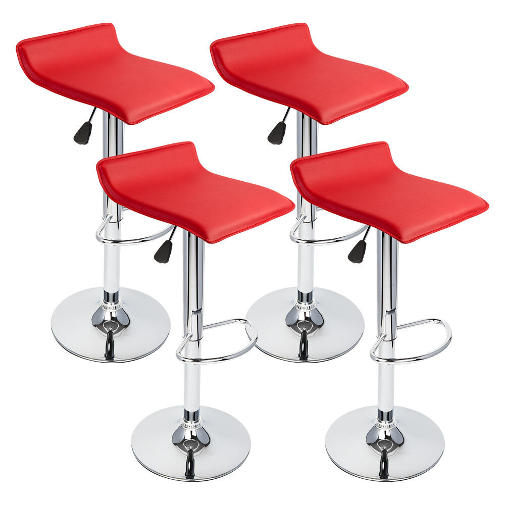 4 Pcs Red Modern Adjustable Height Bar Stool Swivel Pub