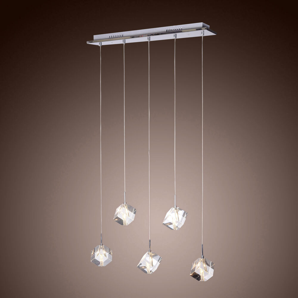 Modern crystal ceiling light cube 5 lights pendant lamp for 5 lamp kitchen light