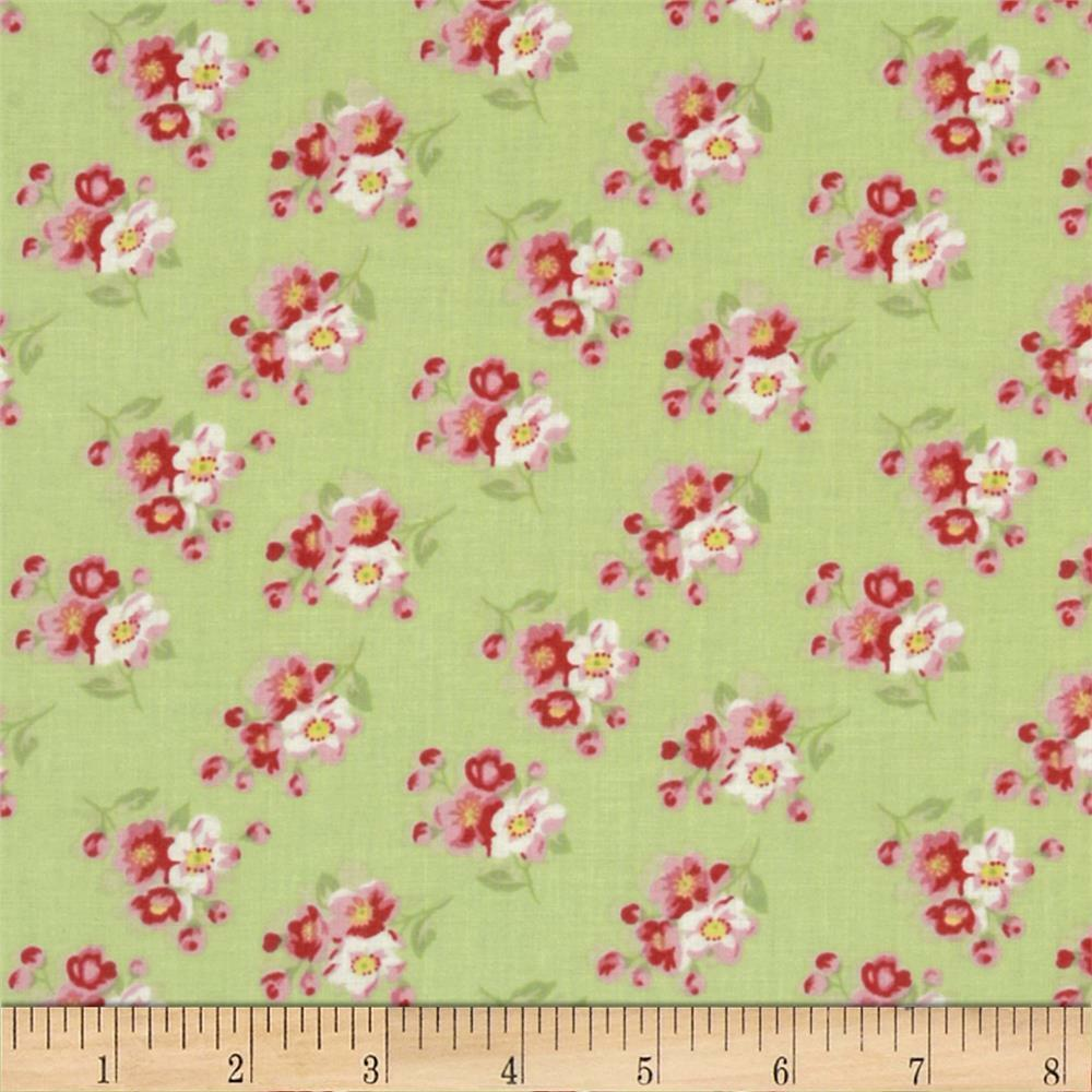 Tanya whelan rosey cherry blossom cotton quilt fabric free for Cotton quilting fabric