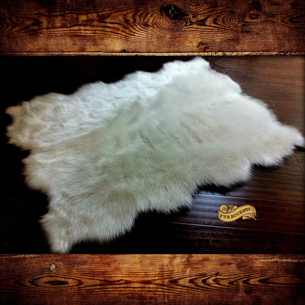 sheepskin white shag area rug faux fur accent throw carpet bear skin scalloped ebay. Black Bedroom Furniture Sets. Home Design Ideas