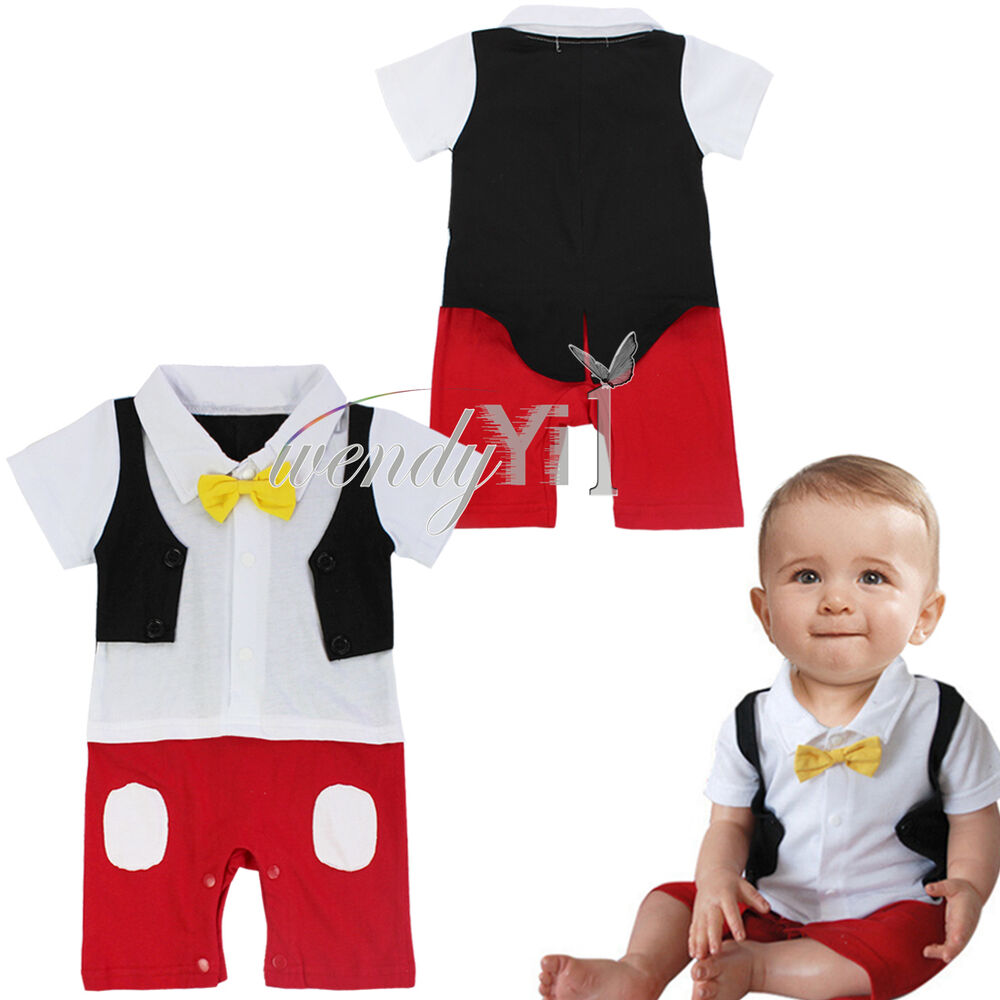 Halloween Baby Boy Formal Tuxedo Mickey Mouse Romper e