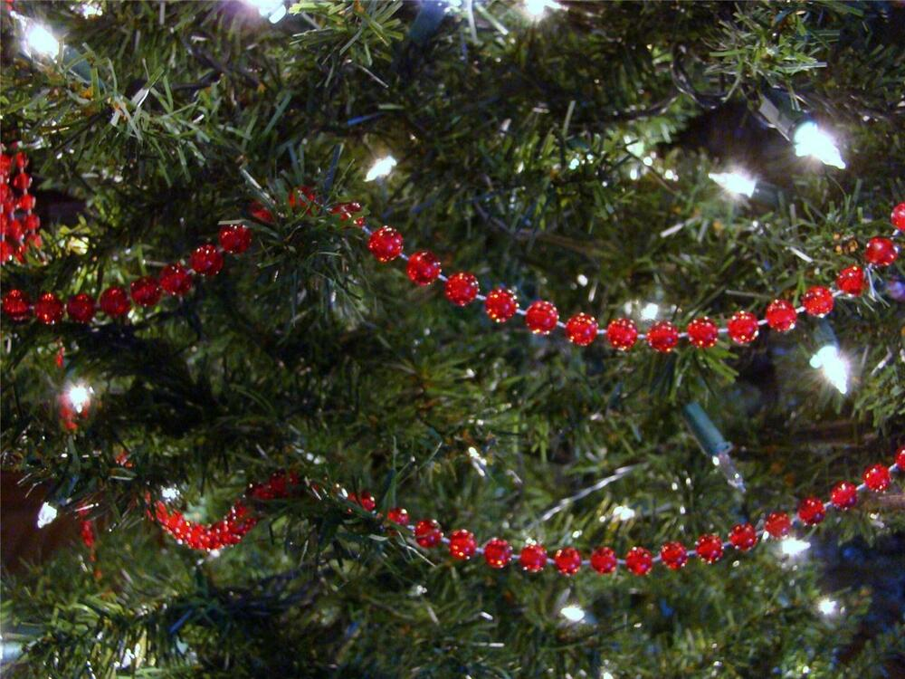 8MM RED CLEAR BEAD CHRISTMAS TREE GARLAND, WEDDING, CRAFTS
