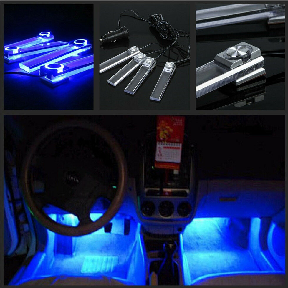 4 pcs blue led car interior charge 12v glow floor decorative atmosphere lights ebay for Led car interior lights ebay